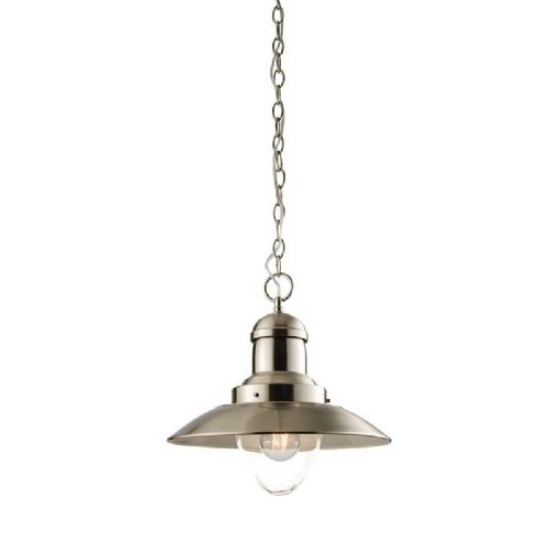 Satin nickel effect plate & clear glass Pendant Light 60799 by Endon